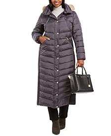 Plus Size Faux-Fur-Trim Maxi Puffer Coat