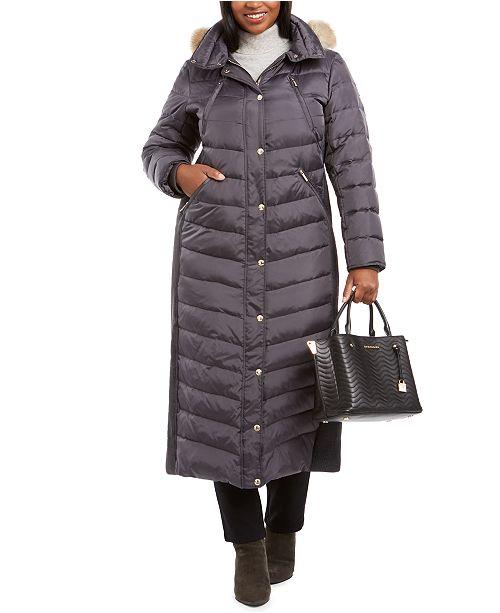 Michael Kors Plus Size Faux-Fur-Trim Maxi Puffer Coat