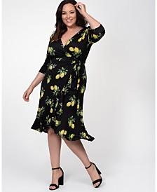 Kiyonna Women's Plus Size Flirty Flounce Wrap Dress