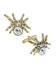 Jewelry 14K Gold Plated Crystal Spider Cufflinks