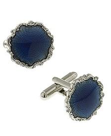 Jewelry Silver-Tone Enamel Round Cufflinks