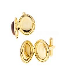 Jewelry 14K Gold Plated Tiger's Eye Oval Locket Cufflinks