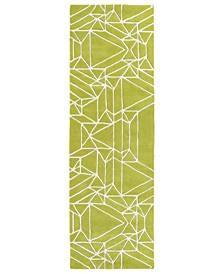 """Origami ORG04-96 Lime Green 2'6"""" x 8' Runner Rug"""