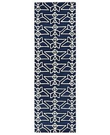 """Origami ORG07-22 Navy 2'6"""" x 8' Runner Rug"""