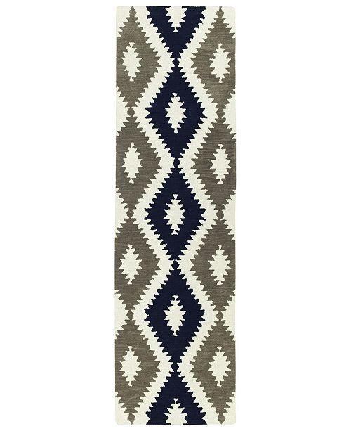 """Kaleen Lakota LKT01-22 Navy 2'3"""" x 8' Runner Rug"""