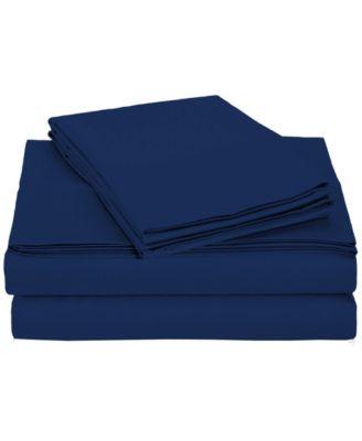 University 4 Piece Navy Solid Twin Xl Sheet Set