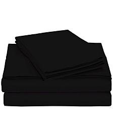 University 4 Piece Black Solid Twin Xl Sheet Set