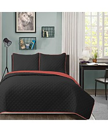University Solid Reversible 2pc Twin XL quilt set Red reverse to Black