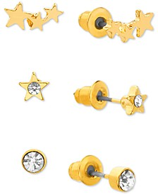 Gold-Tone 3-Pc. Set Crystal Star Stud Earring Gift Set