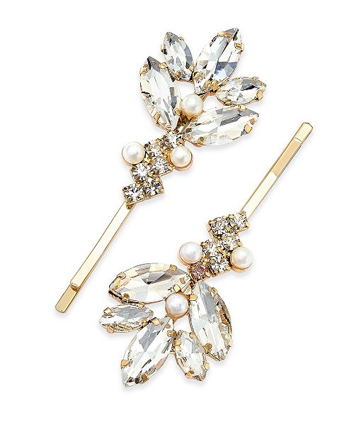 INC International Concepts INC Gold-Tone 2-Pc. Imitation Pearl & Crystal Leaf Hair Pin Set, Created For Macy's