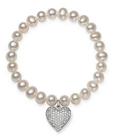 Cultured Freshwater Pearl (7-8 mm) and Cubic Zirconia Stretch Bracelet with Charm in Sterling Silver