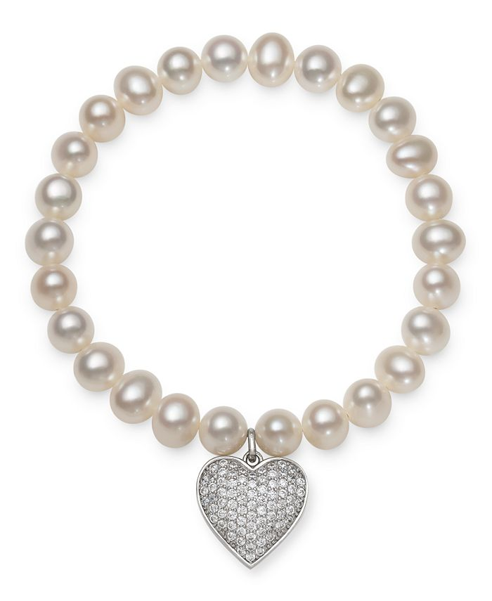 Macy's - Cultured Freshwater Pearl (7-8 mm) and Cubic Zirconia Stretch Bracelet with Charm in Sterling Silver