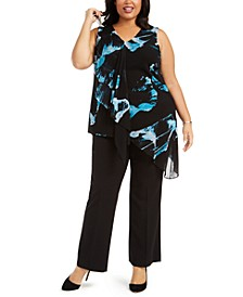 Plus Size Draped Asymmetrical Hem Blouse, Created For Macy's