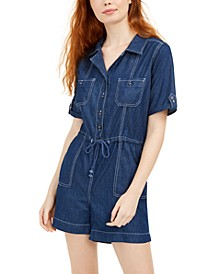 Juniors' Denim Romper