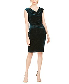 Cowlneck Glitter-Velvet Sheath Dress