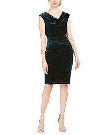 Jessica Howard Cowlneck Glitter-Velvet Sheath Dress