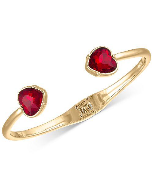 RACHEL Rachel Roy Gold-Tone Heart Crystal Cuff Bracelet
