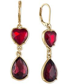Gold-Tone Crystal Heart Double Drop Earrings