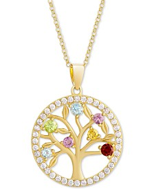 "Multi-Gemstone (3/4 ct. t.w.) & Cubic Zirconia Tree of Life 18"" Pendant Necklace in 18k Gold-Plated Sterling Silver"