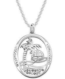 "Crystal Palm Tree Scene 18"" Pendant Necklace in Fine Silver-Plate"