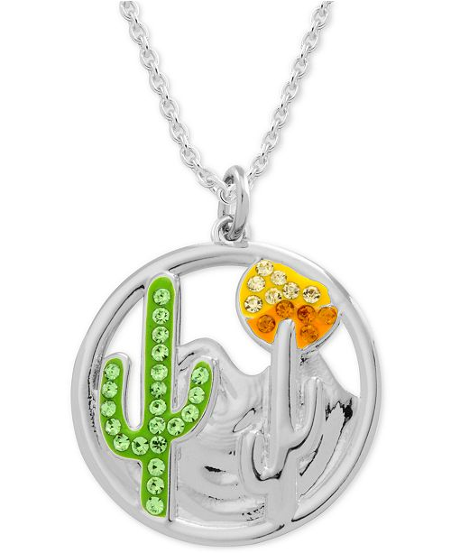 "Moments by Modern Spark Green Crystal Cactus 18"" Pendant Necklace in Fine Silver-Plate"