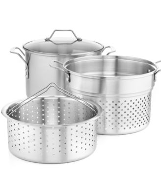simply calphalon stainless steel 8 qt covered multipot with strainer u0026
