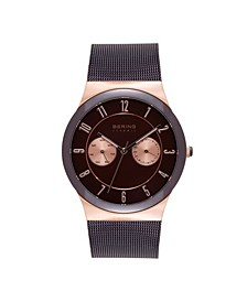 Men's Multi-Function Brown Stainless Steel Mesh Bracelet Watch 39mm