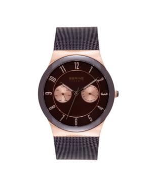 Men's Multi-Function Brown Stainless Steel Mesh Bracelet Watch 39mm