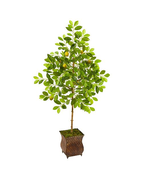 "Nearly Natural 54"" Lemon Artificial Tree in Decorative Planter"