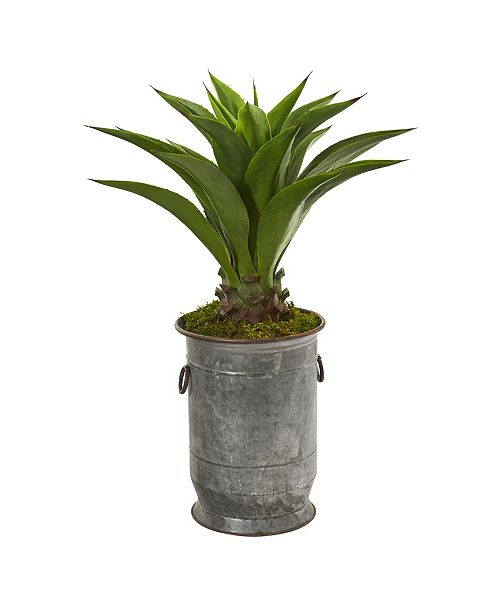 "Nearly Natural 39"" Agave Artificial Plant in Metal Planter"