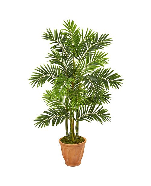"""Nearly Natural 59"""" Areca Palm Artificial Tree in Terracotta Planter"""