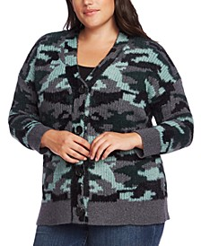 Plus Size Camouflage Button-Up Cardigan