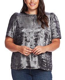 Plus Size Metallic Puff-Sleeve Blouse