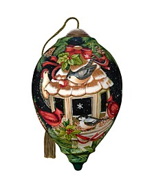 The NeQwa Art Feathered Friends hand-painted blown glass Christmas ornament