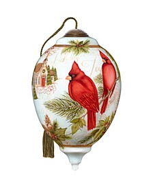 Holiday Joy hand painted blown glass Christmas ornament