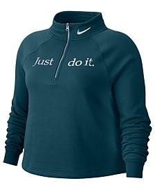 Plus Size Sportswear Shine 1/2-Zip Fleece Top