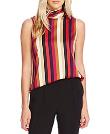 Mayfair Stripe Pleated Mock-Neck Top
