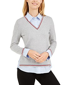 Layered-Look Cotton Sweater, Created for Macy's