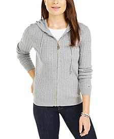 Cotton Cable Knit Varsity Hoodie