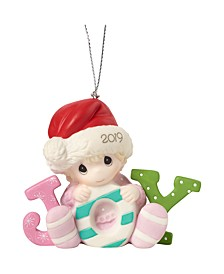 Precious Moments Baby's First Christmas Baby Girl In Santa Claus Hat 2019 Dated Christmas Ornament