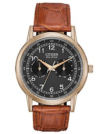 Citizen Eco-Drive Men's Corso Brown Leather Strap Watch 42mm