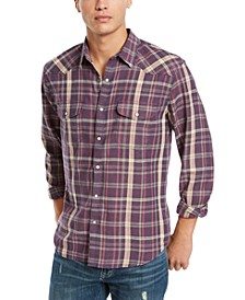 Men's Saturday Stretch Santa Fe Regular-Fit Plaid Western Shirt