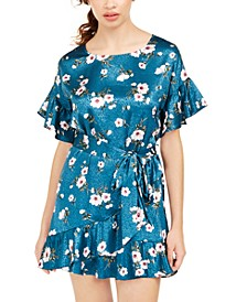 Juniors' Jacquard Floral-Print Shift Dress