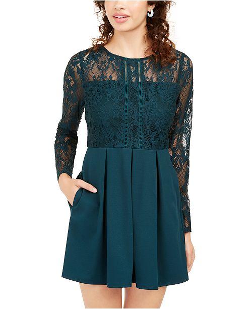 Speechless Juniors' Lace & Scuba Fit & Flare Dress