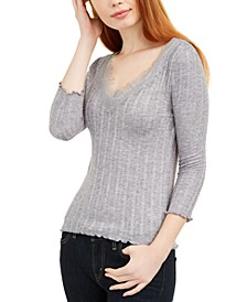 Juniors' Lace-Trimmed Rib-Knit Top