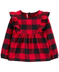 Toddler Girls Cotton Buffalo-Check Flutter Top