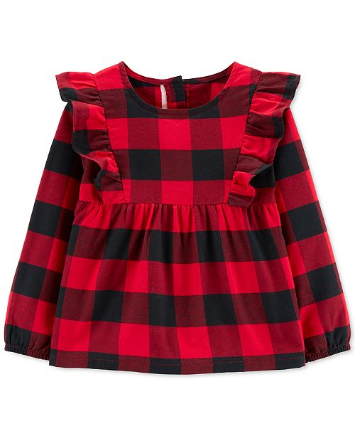 Carter's Toddler Girls Cotton Buffalo-Check Flutter Top
