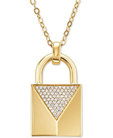 "Gold-Tone Sterling Silver Cubic Zirconia Padlock Pendant Necklace, 32"" + 2"" extender"