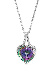 "Mystic Fire Topaz (7-1/2 ct. t.w.) & Cubic Zirconia Heart 18"" Pendant Necklace in Sterling Silver"