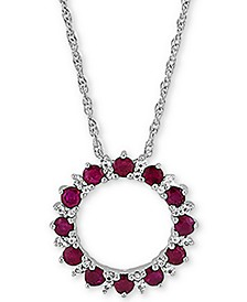 "Certified Ruby (1-1/5 ct. t.w.) & White Topaz (1/10 ct. t.w.) Circle 18"" Pendant Necklace in Sterling Silver"